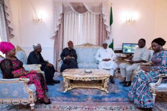 Photo News: President Muhammadu Buhari during the meeting with his media aides and Senior Special Assistant on Diaspora Matters who visited him in London on Saturday.
