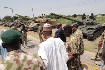 Breaking: Buhari visits troops in Maiduguri to celebrate Independence