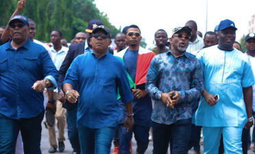 #EkitiDecides: Secondus leads PDP in protest to NASS, INEC, demands credible polls in Ekiti