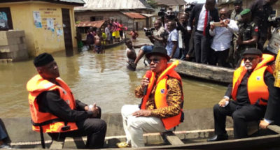 VP Osinbajo on tour of flood affected areas, says 12 states under water will get FG's support