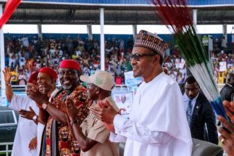 "Owerri Rally: President Buhari counters Oshiomhole on Imo governorship, says, ""vote for your choice"""