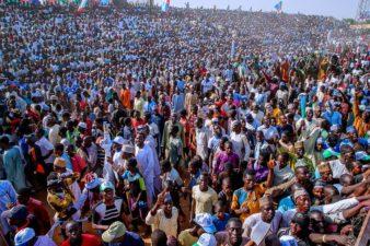 PHOTO: Yobe people at August 27 Square, Damaturu, crowd for President Buhari's campaign Monday