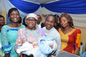 Aisha Buhari lifts First Baby of the Year 2019 in FCT with cash, other gifts