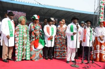 Jonathan, wife, Mrs Atiku at Rivers PDP rally