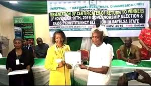 Lyon dedicate victory in Bayelsa election to people, commends Police, DSS, INEC as he receives Certificate of Return