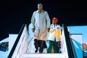 ARRIVAL: Nigeria's President Buhari lands in London: Photos