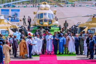 Photo: Nigeria's President inducts gunship, lift helicopters in Abuja