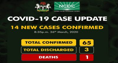14 new cases of Coronavirus confirmed in Nigeria raising total cases to 65