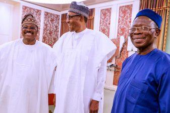 Photos: Buhari receives Oshiomhole, Ajimobi in audience at Villa