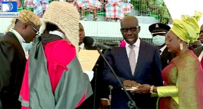 Obaseki, Deputy sworn-in for 2nd term, as Governor says his reelection sign of confidence in democracy