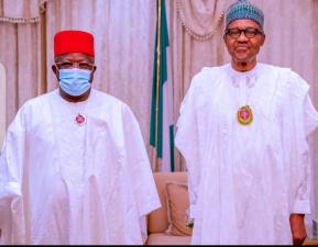 Buhari receives Gov Umahi to APC in Aso Rock Presidential Villa
