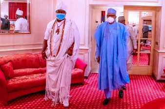 PHOTO NEWS: President Buhari receives in audience Ooni of Ife in State House